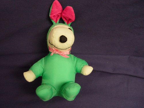 "Whitman's Snoopy Easter Bunny in Teal Green Suit 6.5"" Tall - 1"