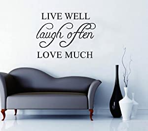 OneHouse Live Well Laugh Often Love Much Word Removable Wall Sticker by OneHouse