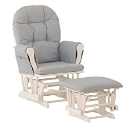 Stork Craft Hoop Glider and Ottoman, White/Light Denim