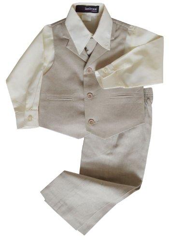 G270 Boys Summer Linen Blend Suit Vest Dresswear Set (3T, Natural) front-973326