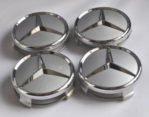 4 x silver wheel center caps emblems mercedes benz 75mm for Mercedes benz hat amazon