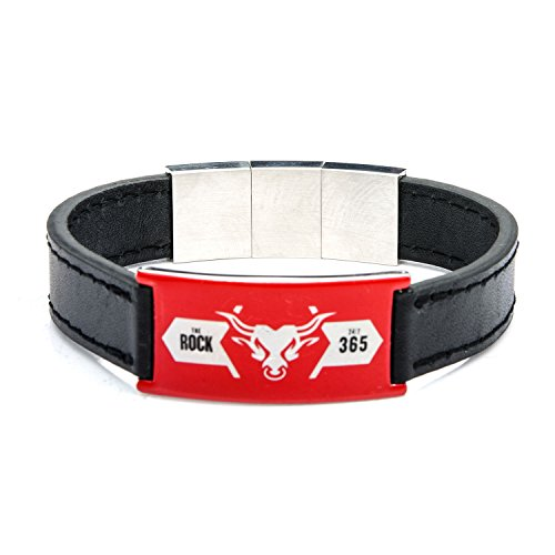 wwe-the-rock-logo-de-acero-inoxidable-negro-pulsera-de-piel