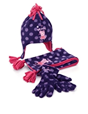 3 Piece Peppa Pig Spotted Hat, Scarf & Gloves Set