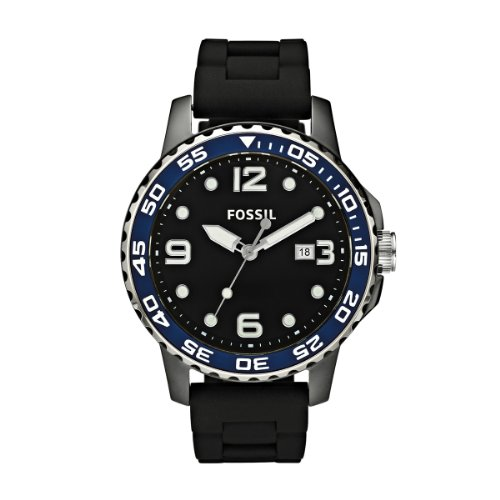 Fossil Men's Black/Blue Ceramic Watch - Ce5004 With Silicone Strap