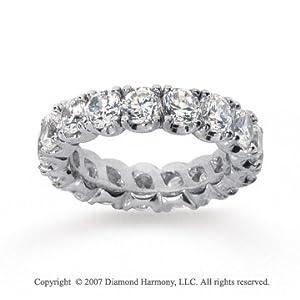 4 1/2 Carat Diamond 14k White Gold Eternity Round Four Prong Band