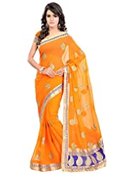 Bano Tradelink Women's Chiffon Saree(7013, Orange)