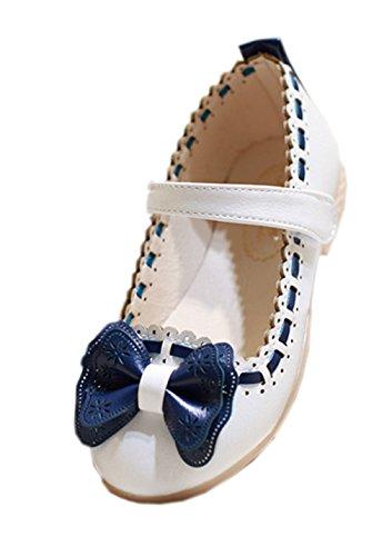 La Vogue-Fiocco Principessa Ballerine Mary Janes Scarpe Bambine (Lunghezza delle scarpe interne:16cm, Bianco)