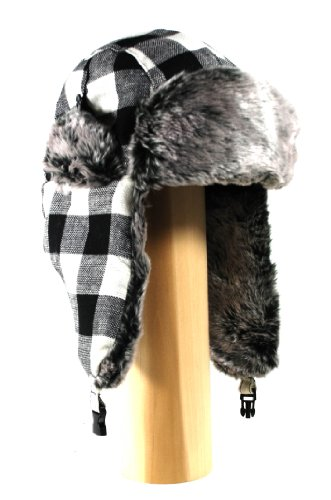 Buffalo Plaid Wool Faux Fur Trooper Trapper Pilot Aviator aviator Lumberjack Hat for Men and Women Fits up to a Large Head with Front Buckle Closure