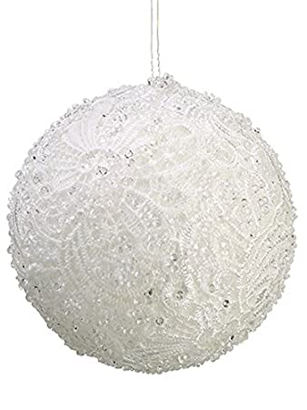 Clear Beaded White Victorian Lace Christmas Ball Ornament by Allstate