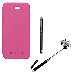 SumacLife PU Leather Flip Cover Case for Apple iPhone 5 (Magenta) + Selfie Stand Stick + Stylus