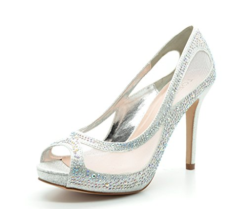 TOETOS BARBARA-58 New Women's Wedding Party Open Toe High Heel Rhinestones Elegant Peep Toe Pumps Shoes SILVER SIZE 7