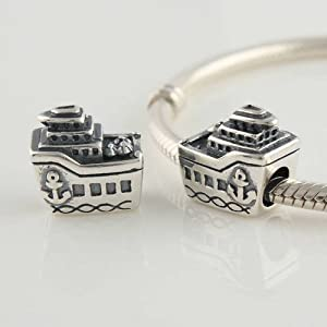 General Gifts Cruise Ship Screw Core 925 Sterling Silver Charms/beads for Pandora, Biagi, Chamilia, Troll and More Bracelets
