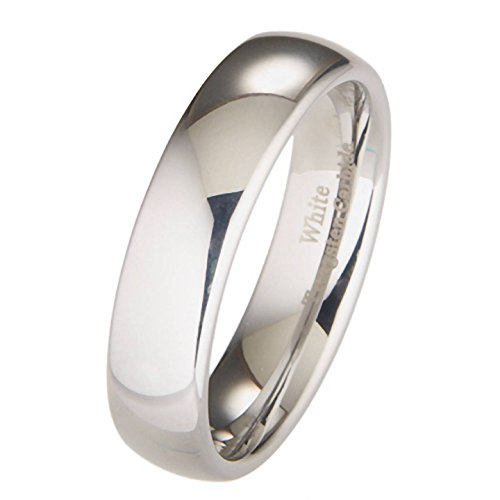 6MM White Tungsten Carbide Polished Classic Wedding Ring Size 8.5