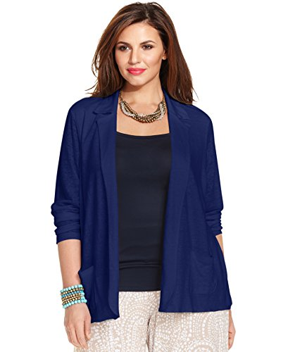 Charter Club Linen Open-Front Blazer, Intrepid Blue, 2X