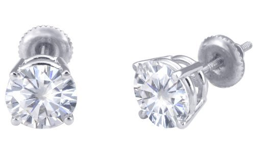 Spectacular! 18k White-gold Pair 7.50mm each (3 CT TW) Round Moissanite Stud Earings by Vicky K Designs
