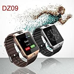 ShopAIS Samsung GALAXY CORE PRIME 4G Compatible and Certified DZ09 Smart Watch (Gold/Silver) Bluetooth Smart Watch Phone With Camera and Sim Card Support Touch Screen Multilanguage Android/IOS Mobile Phone Wrist Watch -Assorted color