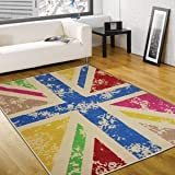 Cool Britannia rug, 120x160cm. Retro Hard wearing