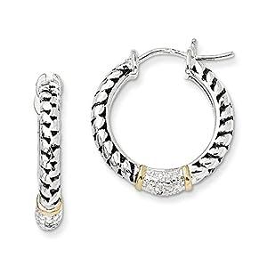 Christmas Sale -Sterling Silver w/14k Diamond Hoop Earrings - Excellent Gift