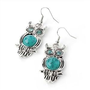 Owl Drop Pierced Fashion Earrings Silver & Turquoise Blue
