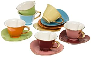 Classic Coffee & Tea Inside Out Heart Cups & Saucers, Set of 6, Assorted Colors/Gold, 5 Oz.