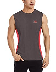 Umbro Men's Round Neck Synthetic T-Shirt (8907350168652_UPF 34_Large_Carbon)