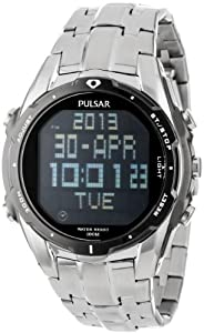 Pulsar Men's PQ2001 World Time Alarm Chronograph Silver-Tone Watch