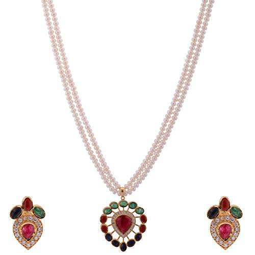 Real Kmjewels Pearl Real Navratan Pendant Set - 2 Strand. (White)