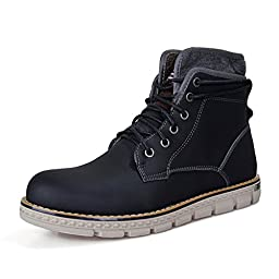 LQ-89017-Black-38 SUNROLAN Vivian Men\'s Classic Premium Mountaineering Boots Faux Fur Hiking Work Boots US 6.5