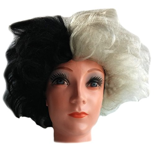 Cruella Deville Black and White Dalmation Costume Wig for Women and Girls