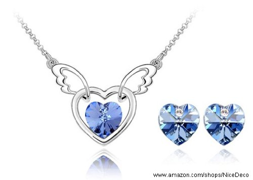 Nicedeco JE-SW-TZ051-lightblue,Swarovski Elements Austrian Crystal Jewelry Sets,Angel heart,Necklace And Earring(2-Piece Set),Elegant style and exquisite craftsmanship