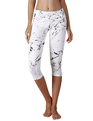Yoga Reflex - Yoga Capris for Women - Performance Activewear Printed Yoga Capri - Hidden Pocket (From XS to 2XL) , Marbleblackwhite , X-Small