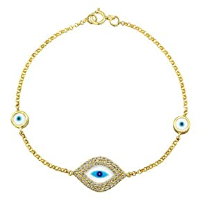 14k Yellow Gold Diamond and Enamel Evil Eye Bracelet (1/3cttw, IJ, I1-I2)