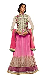 Nirali Women's Banarasi Soft Net Salwar Kameez Unstitched Dress Material - Free Size (Pink ::White)