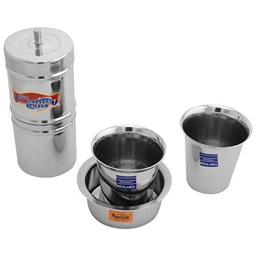 Nandini Steel Coffee Filter, Grey, 6.35 cm x 6.35 cm x 13.97 cm