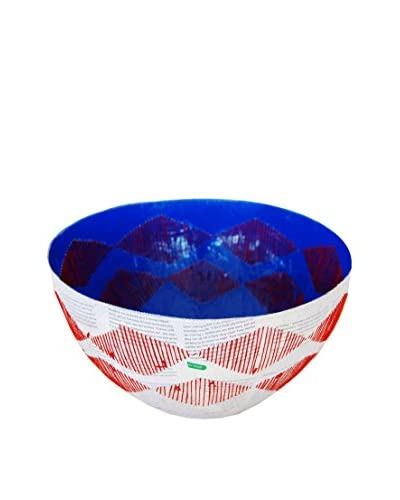 Asian Loft Swaziland Handcrafted Paper Mache Bowl with Stitch Pattern, White/Blue/Red