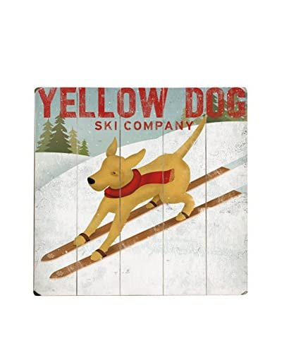 Artehouse Yellow Dog Ski Company Wood Wall Décor, Brown/White As You See