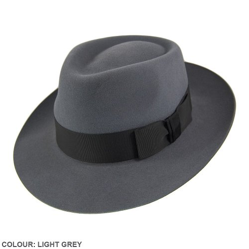Christys Hats Casablanca Fedora Light Grey 57