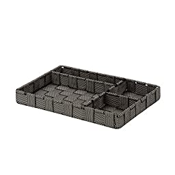 Honey-Can-Do OFC-03691 Four Section 11.75 by 7.75 by 2.76-Inch Woven Drawer Organizer, Large, Salt/Pepper