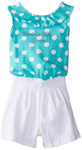 Calvin Klein Little Girls' Twofer Dot Top Romper, Green/White, 6 front-480154