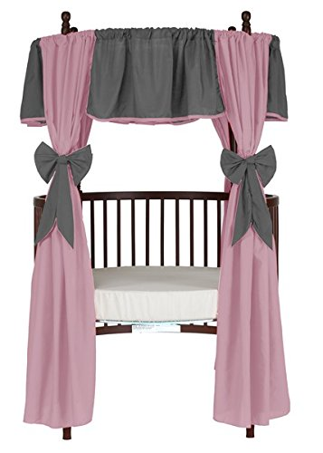 Baby Doll Reversible Round Crib Curtains, Grey/Pink