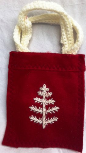 "Holiday Christmas Snow Flake Red and White 6"" X 5"" Purse Pouch Hand Made"