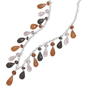 Sterling Silver 18 Inch Multistrand Briolette Stone Necklace - JewelryWeb