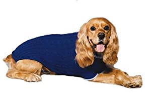 Fashion Pet Classic Cable Dog Sweater, Cobalt Blue, Small