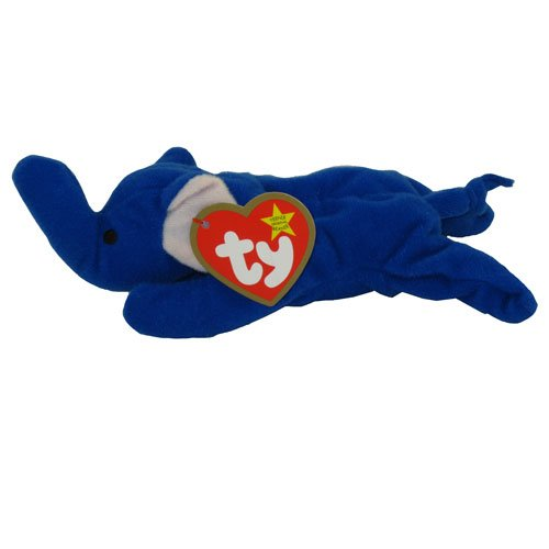 TY Teenie Beanie Babies Royal Blue Peanut the Elephant Stuffed Animal Plush Toy - 1