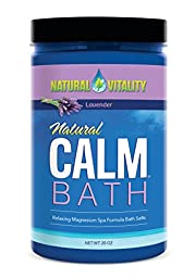 Natural Vitality Natural Calm Magnesium Bath Minerals, with Organic Lavender, 20 oz.