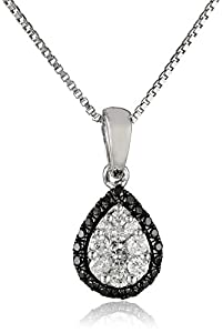 Sterling Silver Black and White Diamond Pear Shape Pendant Necklace (1/5 cttw, H-I Color, I1- I2 Clarity), 18