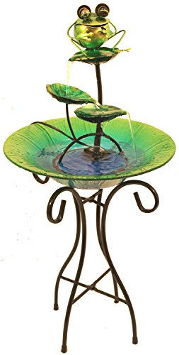 Glass & Metal Frog Fountain With Stand
