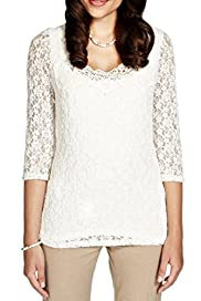 Per Una Floral Lace & Crochet Neckline Top [T62-4529I-S]