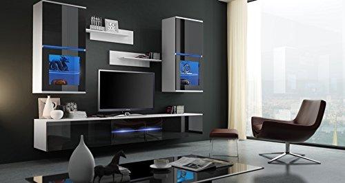 ZOE Moderno Conjunto De Muebles De Salón - Comedor (Blanco MAT base / Negro AB frente, Azul LED)