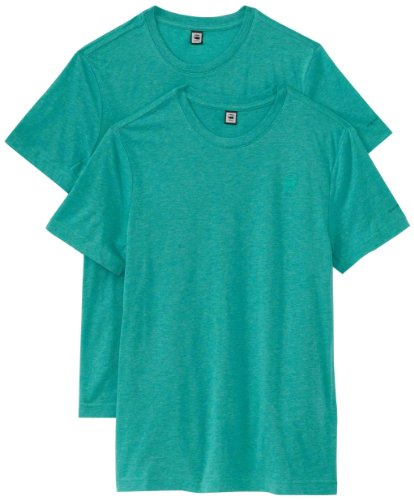 G-Star Men's Base Heather Short Sleeve 2-Pack Tee, Green, Medium